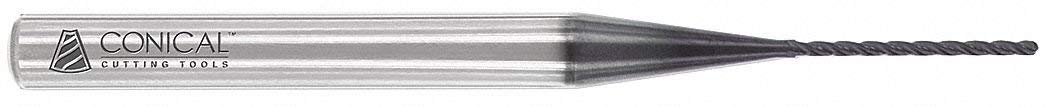 "Profile Rib Cutter, 0.050"" Tip Diameter, Number of Flutes: 4, 45/64"" Length of Cut, AlTiN"