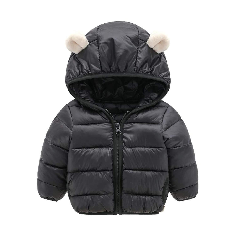 WARMSHOP Baby Kids Girls Winter Warm Jacket Outwear Floral Print Hooded Zipper Snowsuit Windproof Coat