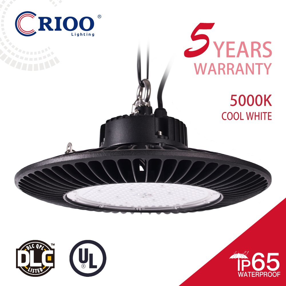UFO Led High Bay Light 150W 5000K Cool White 130LM/W UL&DLC [600 HPS|HID] High Power Energy-efficient Luxeon 3030 Chips Lumileds IP65 Fixtures for Warehouses Factories Sport Halls Airports