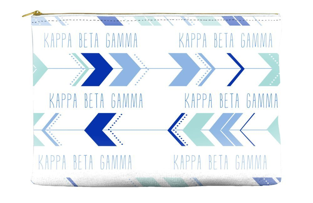 Kappa Beta Gamma Arrow Pattern Blue Cosmetic Accessory Pouch Bag for Makeup Jewelry & other Essentials