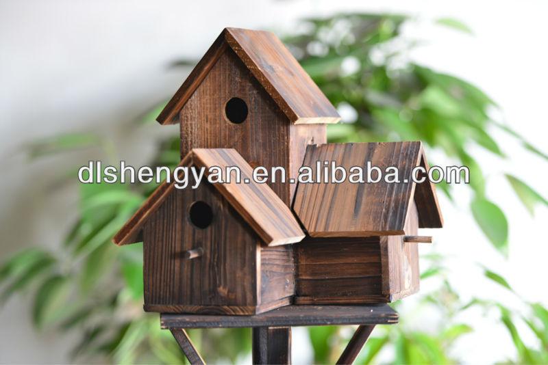 Maison Pour Oiseaux En Bois > Triple en bois maison d'oiseau cages décoratif en bois oiseaux sauvages nichoir Cage, caisse