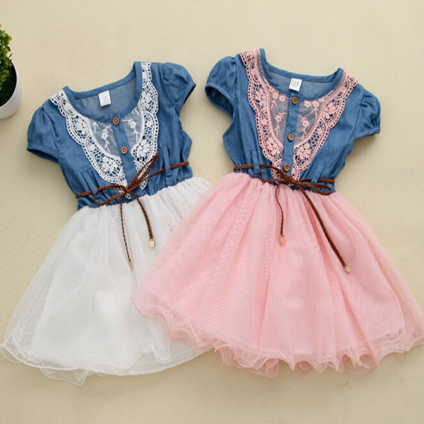 2015 Girl Dress Kids Denim Dresses Children Cute Patchwork Girls Overalls Casual Dress Kid Clothes