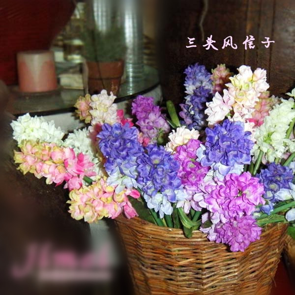 Artificial hyacinth  Spring artificial flowers home decoration plastic and silk flowers flowers mix color 10pcs/lot