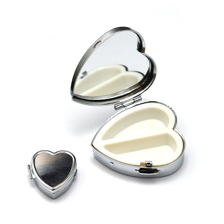 Free sample custom safe mini heart shaped titanium portable medication pill box with mirror
