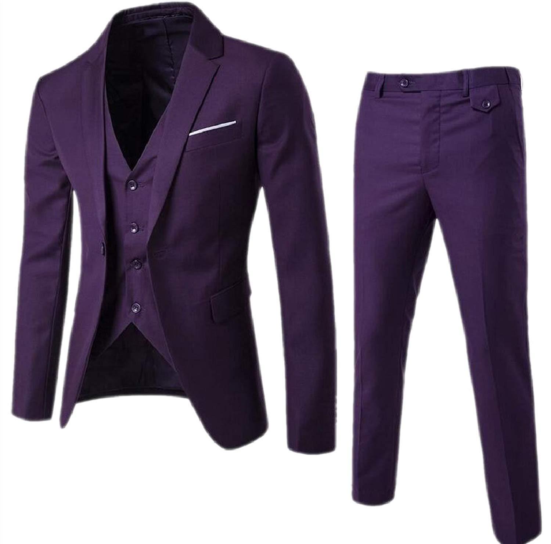 ONTBYB Mens Jacket and Dress Pants Slim 1 Button Blazer Two Piece Set