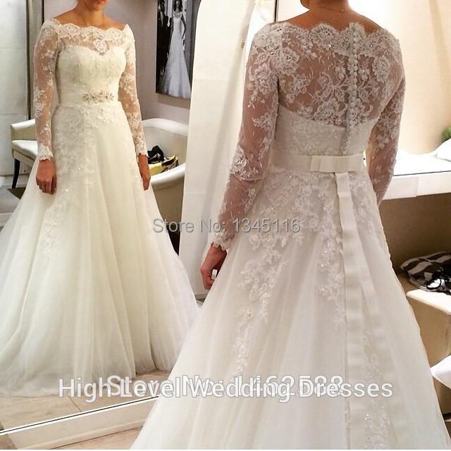 Elegant Long Sleeve Wedding Dresses Muslim Dress 2015: Muslim Style White Lace Long Full Sleeves Princess Wedding