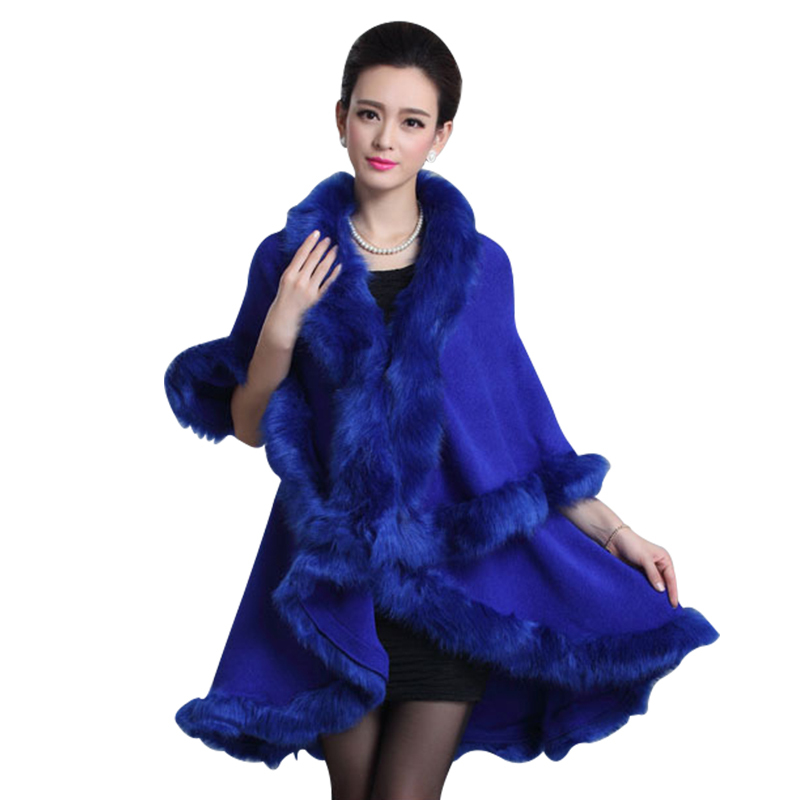 Faux fur coat for women new 2015 winter long wool cashmere faux fox fur coat cardigan poncho shawl fur scarves coat WFC162