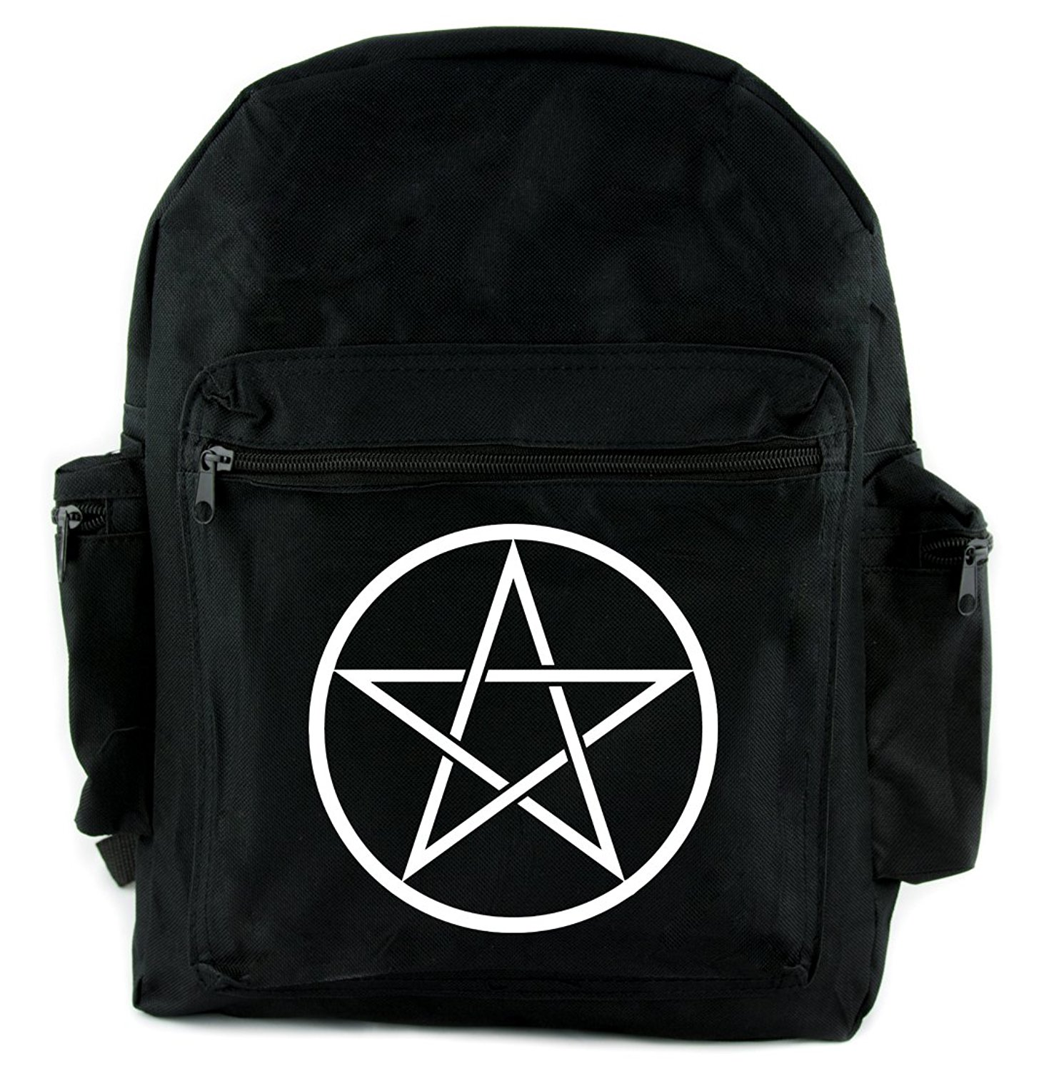 f98490f477 White Wicca Ritual Woven Pentagram Backpack School Bag Occult Alternative  Clothing