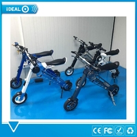 "Black X Folding Electric E Bike Mini Bicycle 10"" Wheel Electric Folding Bike"