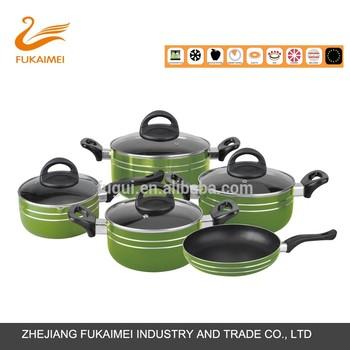 Alat Dapur Lukisan Aluminium Lapisan Enamel Hijau Saus Pot Fryinf Pan Set Peralatan Masak