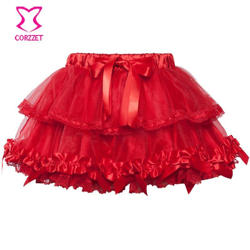 cf2b7ed870 Get Quotations · Women Satin Lolita Sexy Multilayer Lace Trim Mini Tutu  Skirt Bow Deatil Petticoats Ball Gown Clubwear