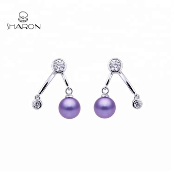 Beautiful Fashion Bifurcation Jewelry 925 Sterling Silver Freshwater Cultured Pearl Stud Earrings