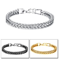 TRYME JEWELRY Fashion Gold/Black/Silver Plated Stainless Steel Bracelet Mens Jewelry 2016 Punk Rock Chains Wholesale