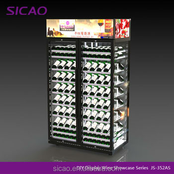 176 bottles 360degree Visible DIY Wine Showcase Wine Refrigerator Beer Cooler
