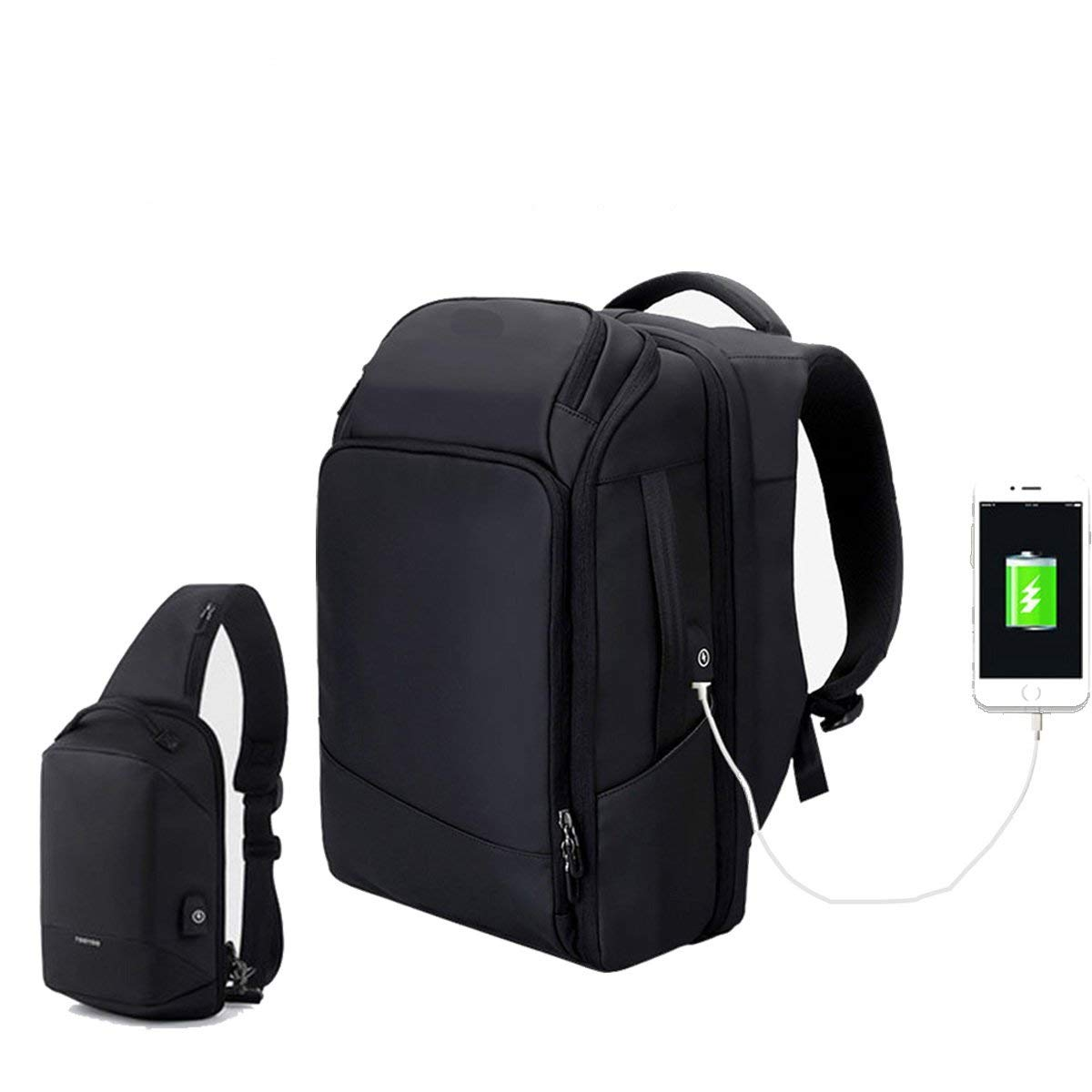 17inch Laptop Backpack With Chest Bag - Anti Theft Backpack Waterproof Rain Cover - GPS Location- USB Charging Port - Business College Travel School Backpack - Black Lightweight Backpack for Men Wome