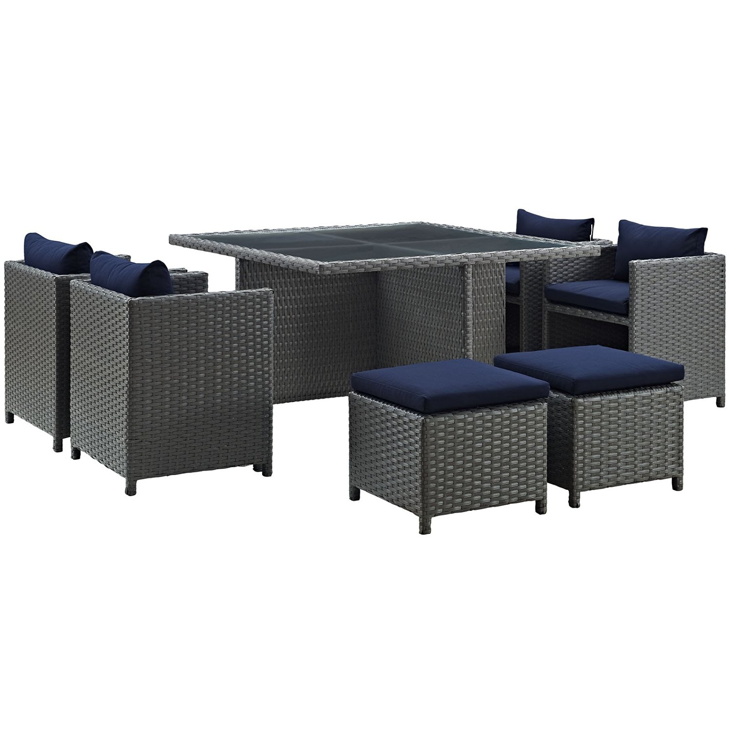 Modway Sojourn 9 Piece Outdoor Patio Dining Set With Sunbrella Brand Navy  Canvas Cushions