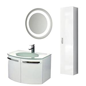 """Nameeks CD19 ACF 27-3/5"""" Wall Mounted Vanity Set with Wood Cabinet, Glass Top wi, Glossy White"""