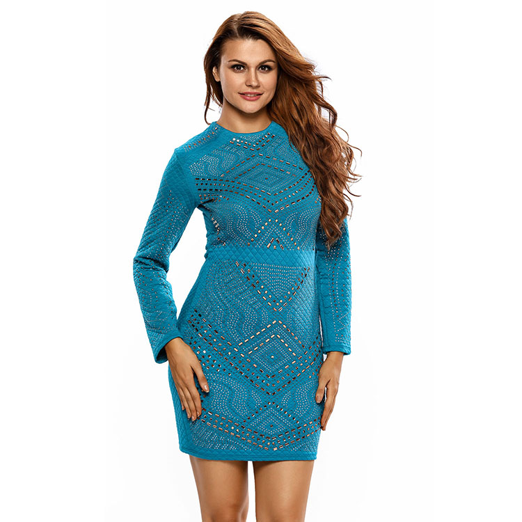 Latest Autumn Style Rhinestone Quilted Long Sleeves Dress