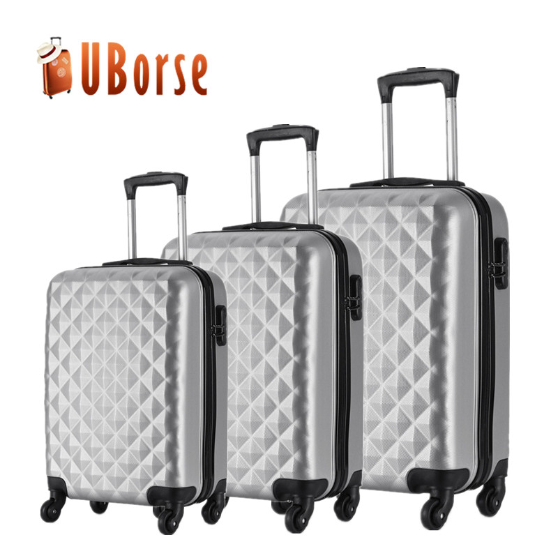Custom aluminium trolley suitcases luggage bags, abs pc travel luggage sets