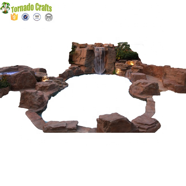 Customized swimming pool decorative slide landscape outdoor artificial waterfall fountain