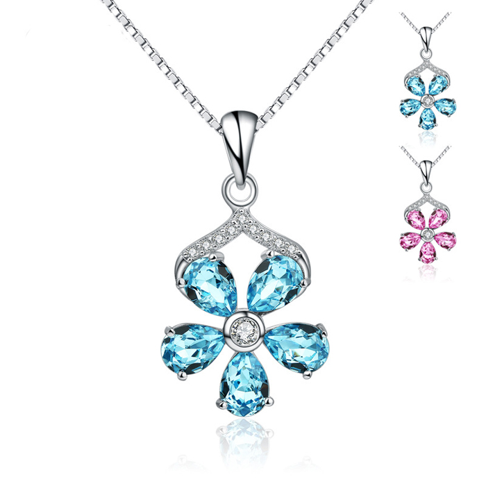 SJ Hot-Selling Jewely SJSA294 Lovely 925 Silver Platinum Plated Flower Bezel Setting Simulated Crystal Cubic Zirconia Pendant
