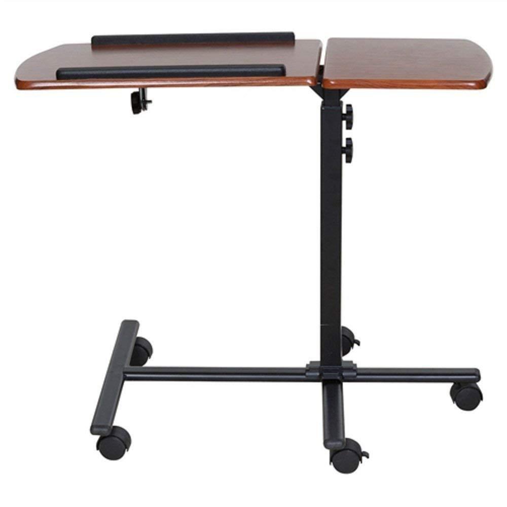 Adjustable Height Laptop Cart Computer Desk in Cherry Finish Adjustable Height Laptop Cart Storage Woodgrain Wood Svitlife