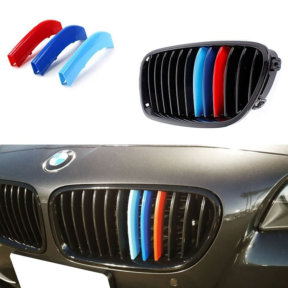 lanyun BMW M Colors(red blue light blue) Grille Insert Trims Decorate For F10 F11 5 Series 528i 535i 550i with M-Performance Black Kidney Grill (12 Beams)