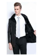 Men's Smooth Lamb Leather Bomber black Jacket fashion pocket zipper belt short jacket