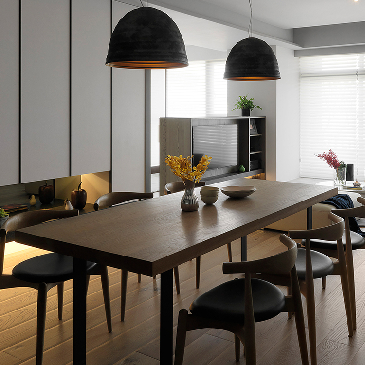 Modern living room furniture table wooden top metal frame wooden dining table