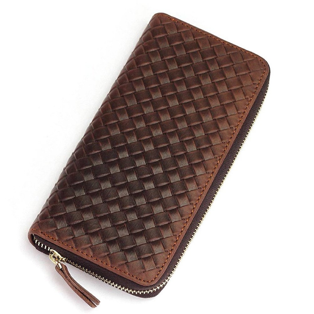 Hot selling man's tanned skin long handwoven leather wallet oem, high quality hand weaving european leather wallet for men purse