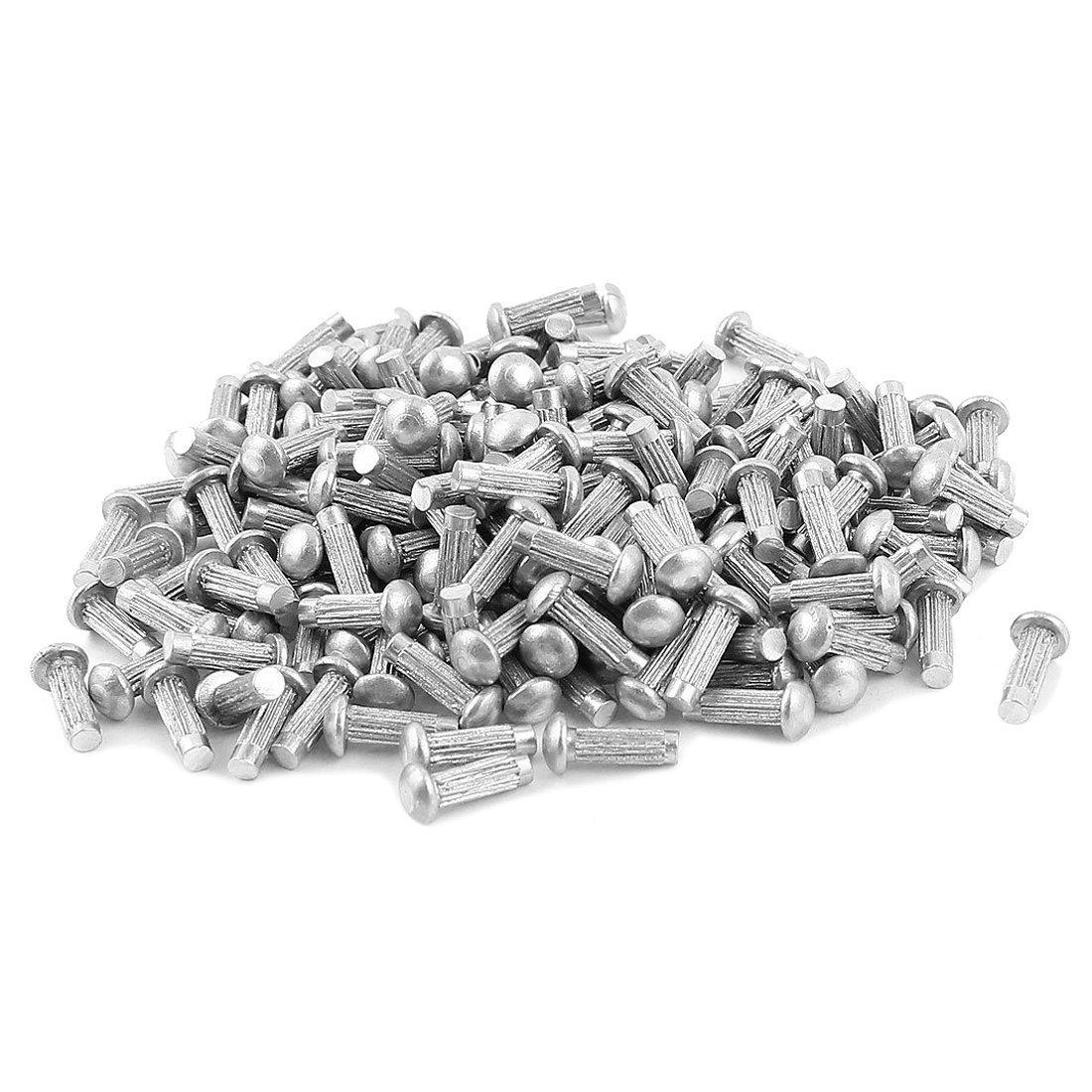 TOOGOO(R) 200 Pcs 3/32inch x 5/16inch Aluminium Round Head Solid Rivets Knurled Shanks