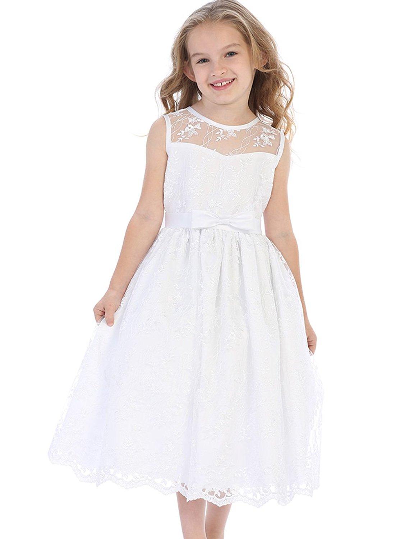 Sweet Pea & Lilli Swea Pea & Lilli SP157 White Embroidered Tulle W/Satin Trim & Bow