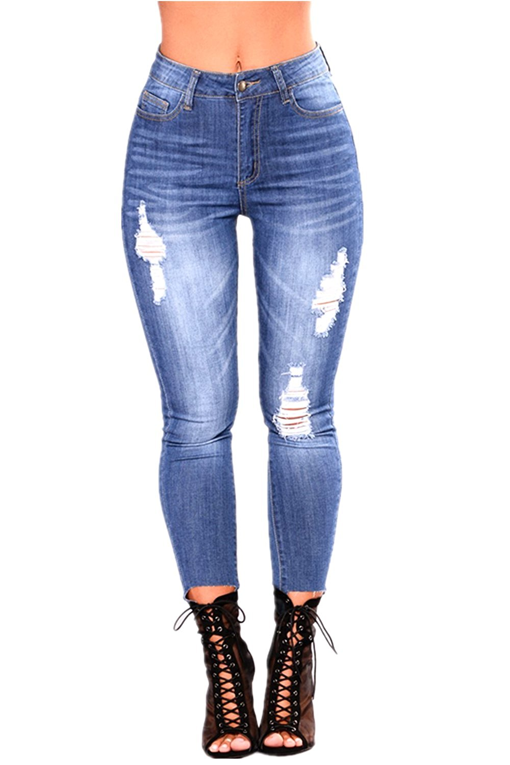 6c79a8bc6dfb43 Get Quotations · L.B FASHION Womens High Rise-Waisted Jeans Juniors  Distressed Ripped Stretch Skinny Denim Bootcut Bell