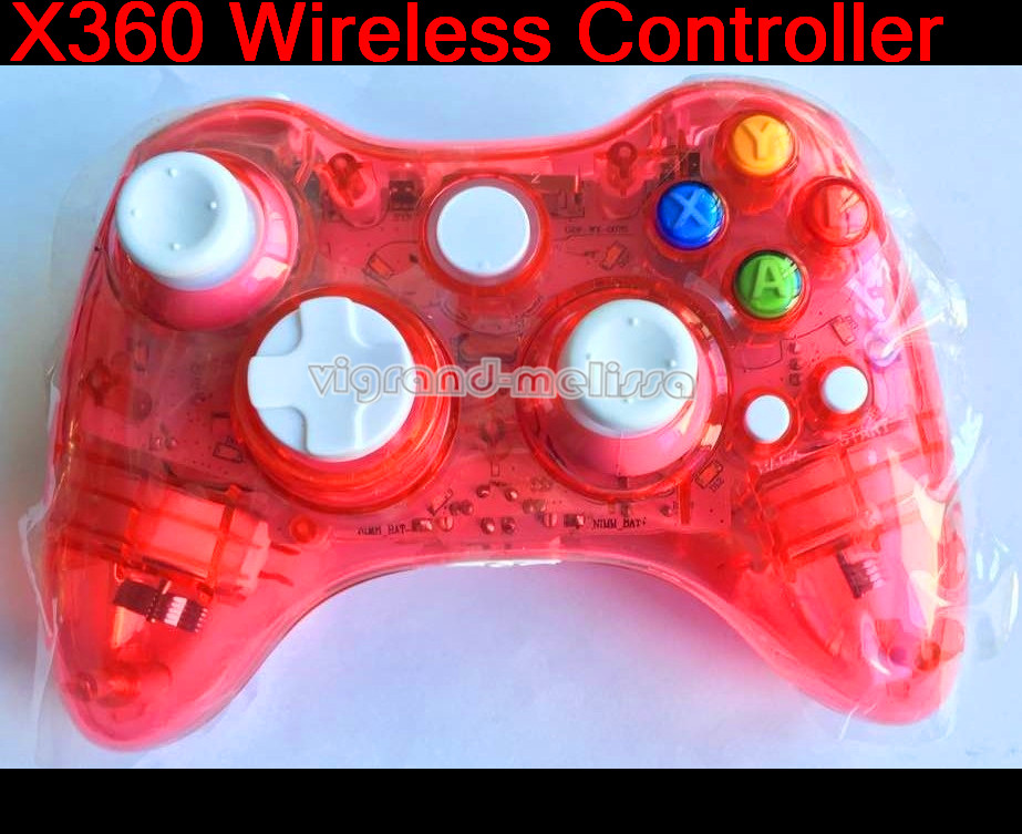 Transparent Blue Led Light Wireless Gamepad for Micro soft Xbox360 Game Console Controller 1) Compatible with Xbox360 game conso