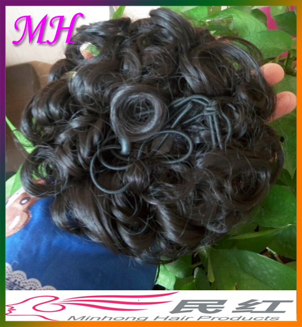 2017 New Factory Price Curly Flower Bun Synthetic Elastic Hair Scrunchie Piece Extensions Hair Bun for Black Women