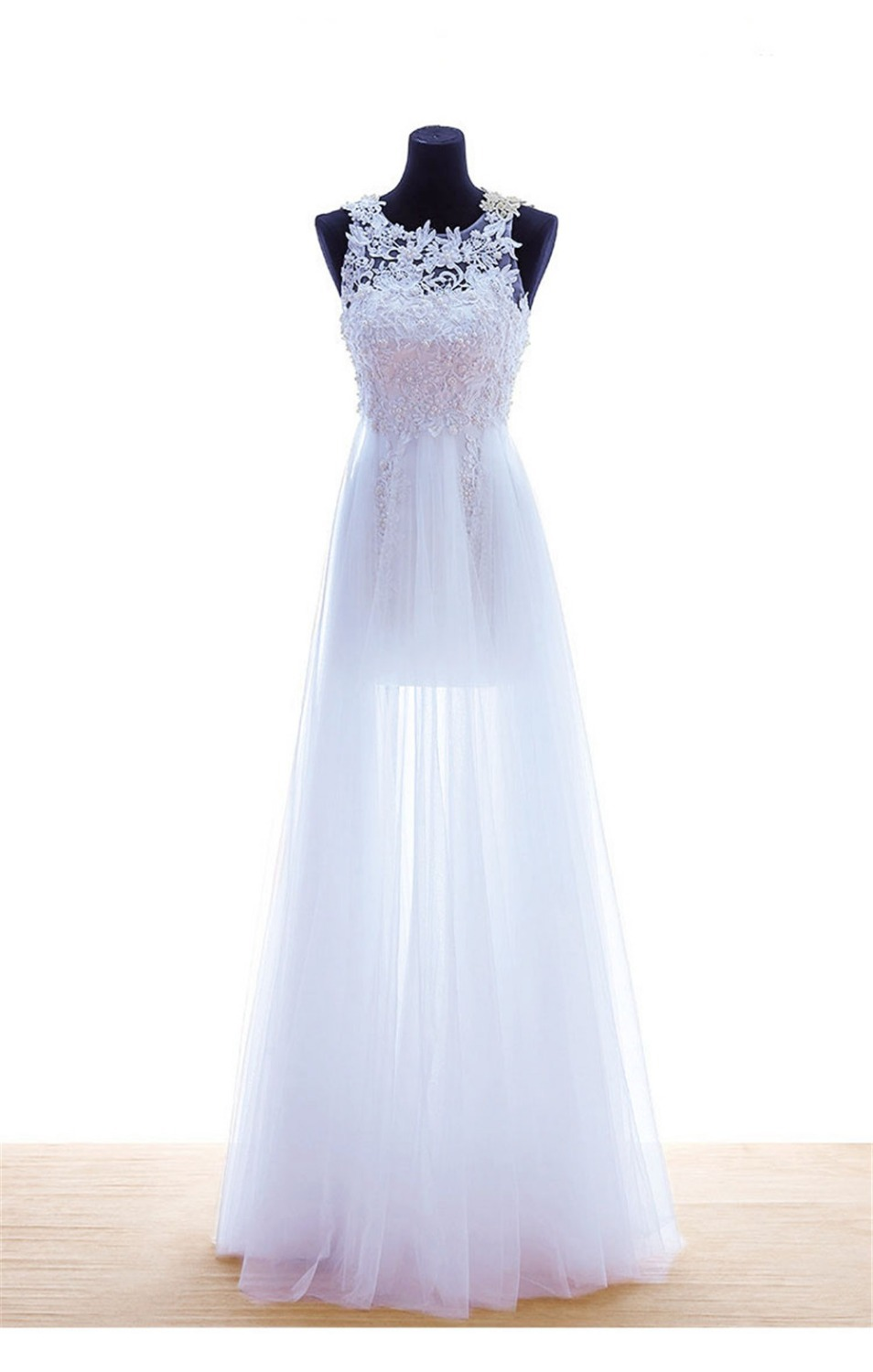 Sexy White Prom Dresses 2015 Long Tulle Beaded Lace A Line Wedding Party Dress Evening Gowns Abendkleider Vestidos De Baile