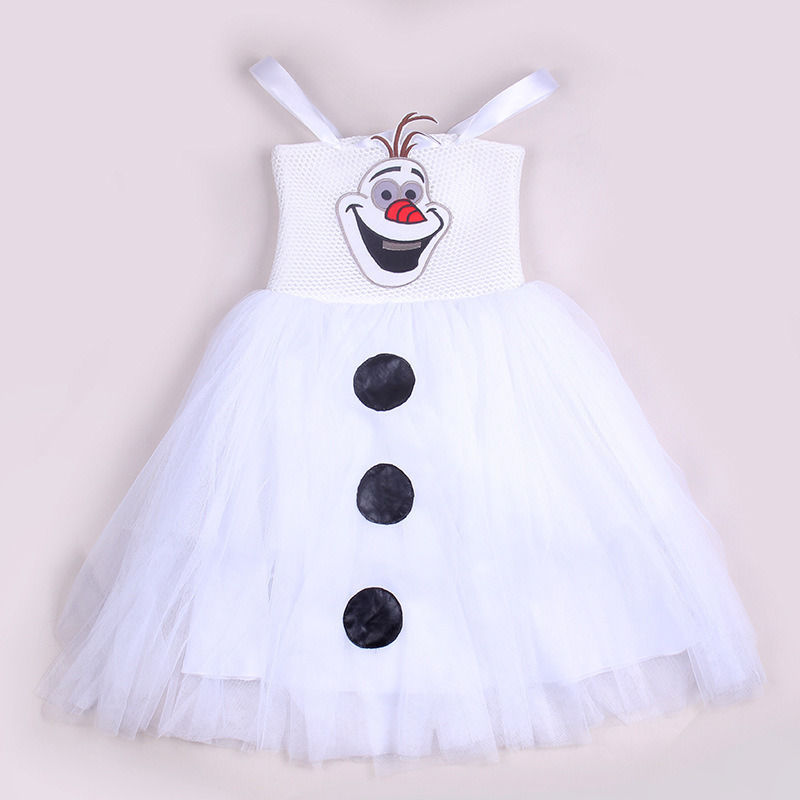 2016 Summer New White Cartoon Snowman Olaf Kids Girls Baby Sleeveless Princess Sundress Tulle font b