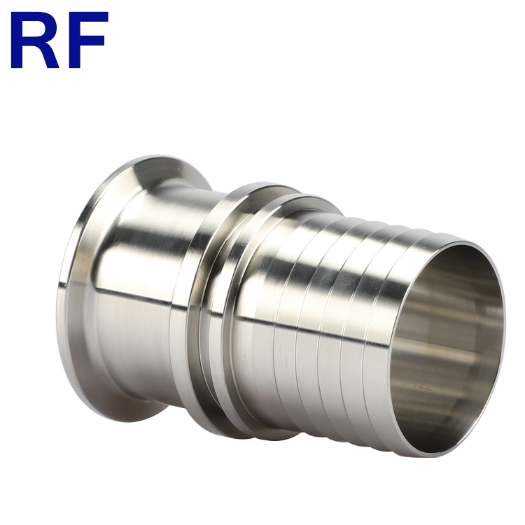 RF Sanitary Stainless Steel Rubber Hose Barb Pipe Fitting Tri Clamp Hose Adapter
