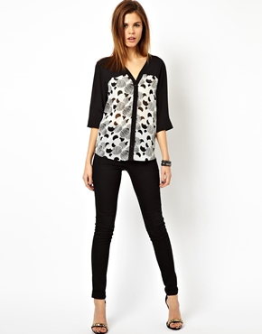 lady Blouse with Color Block Panels in Scratchy Spot fashion 2015