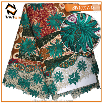 Fashion flower african wax cord lace trust win fabric of BW10017