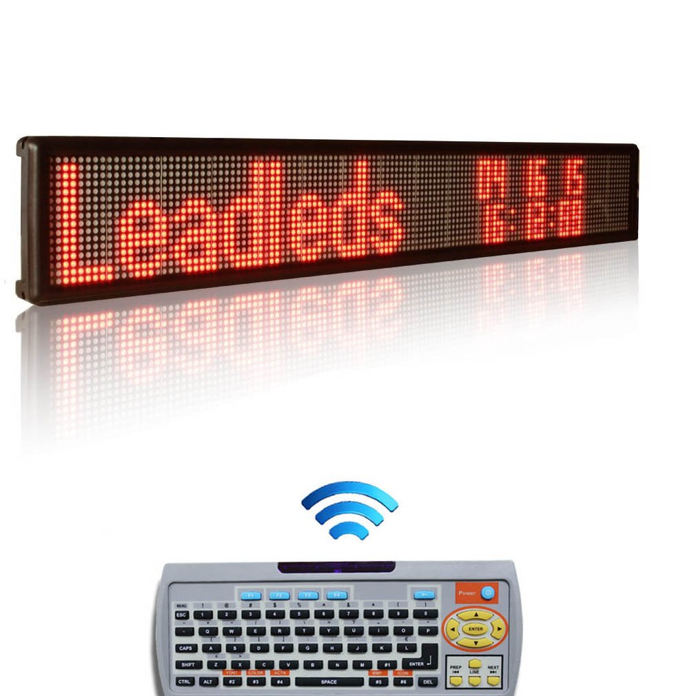 Leadleds Remote Led Display Board, 40 X 6.3-in, 1-2 Lines Message Capacity Display Multi-language, Image, Support By Remoter Choose Message Anycast (Red)