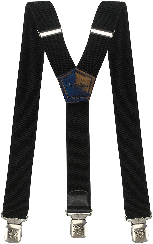 MENDENG Mens Suspenders Adjustable Elastic Braces 1.4 Wide Strong Clips Strap
