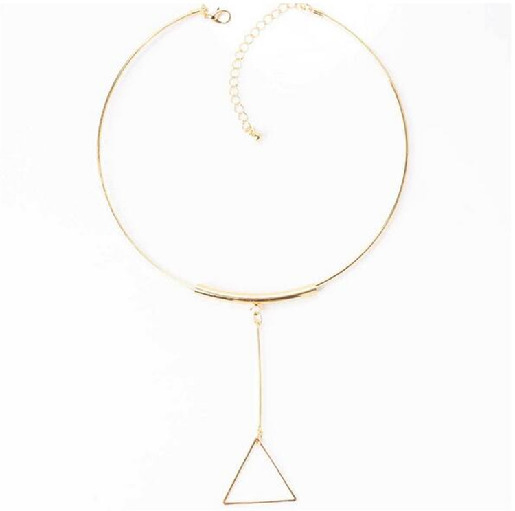 Triangle Pendant Circle Choker Necklace Jewelry Accessories for Women Lady Wholesale