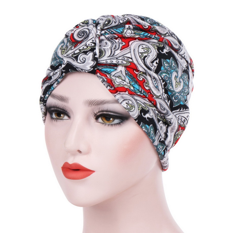 Amazon Hot Sell High Quality Flower Pattern Ruffle Headwrap Turban for Women