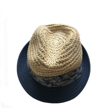 83e3bf82b45 2018 summer high quality mens sun beach straw cotton mixed trilby hat with  cotton band