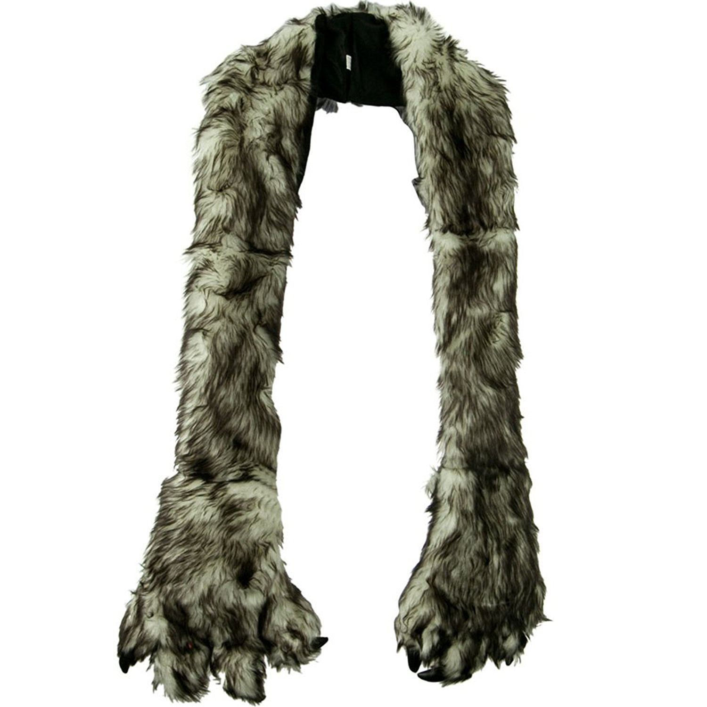 Furry Animal Scarf with Paws - Grey Husky W30S44E