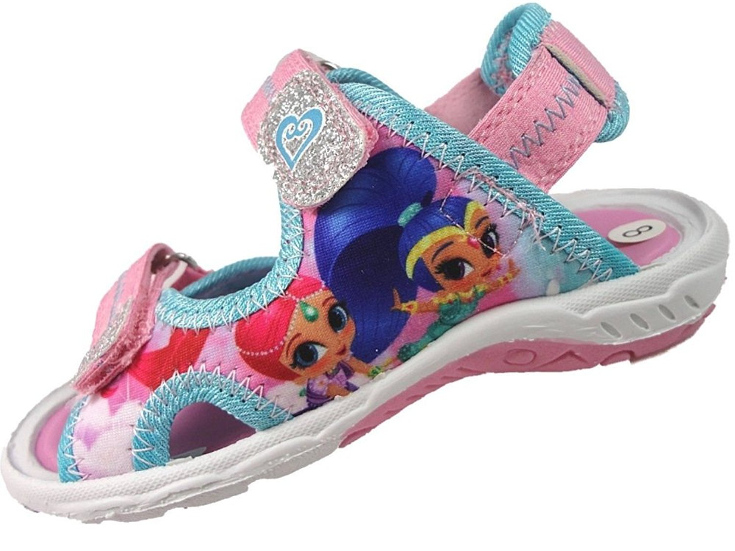 c7dbad484b29 Get Quotations · Shimmer and Shine Girls Pink Sports Beach Sandals Hook    Loop UK Size ...