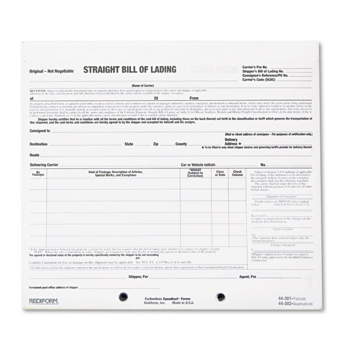 Rediform® - Bill of Lading Short Form, 8 1/2 x 7, Three-Part Carbonless, 250 Forms - Sold As 1 Pack - Provides accurate contractural wording for complete documentation.