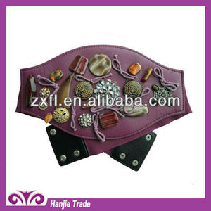 Fancy Women Elastic Hip Purple Wide Corset High Waist Belt