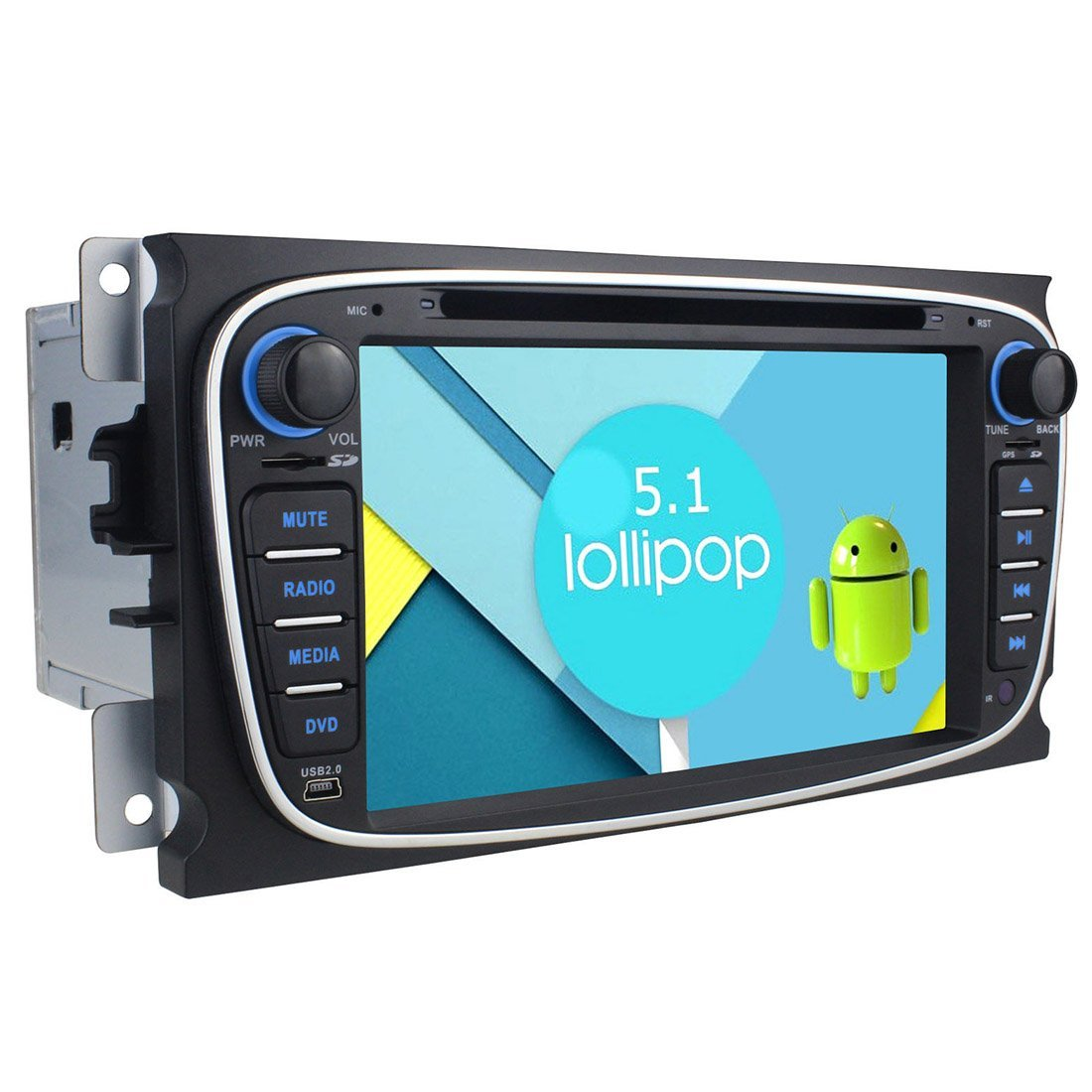 Quad core Navigation - TOOGOO(R) Android 5.1 Quad core 1024600 Double 2Din Stereo GPS Navigation 3G BT for Ford Focus